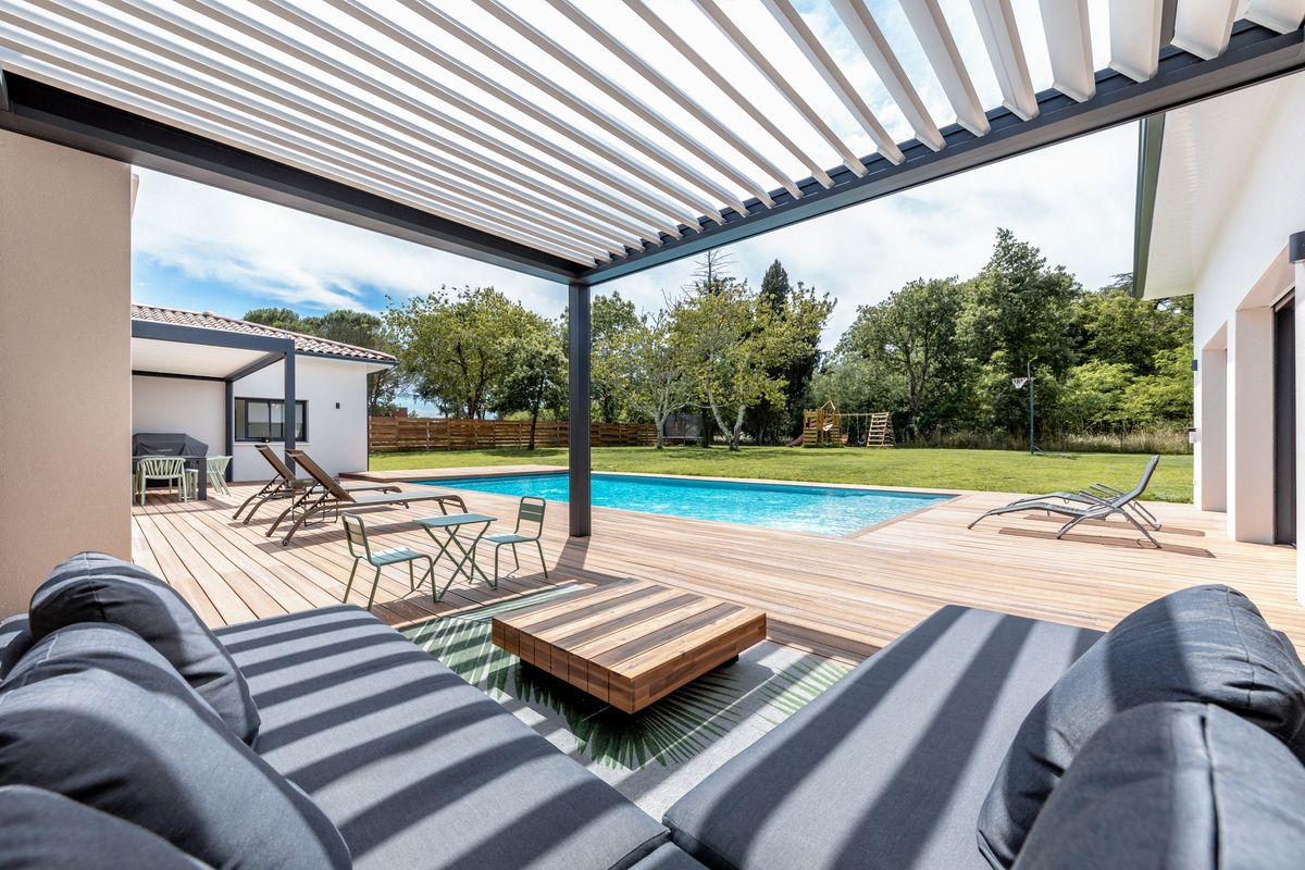 Maison individuelle toulouse - contemporaine - pergola - salon jardin