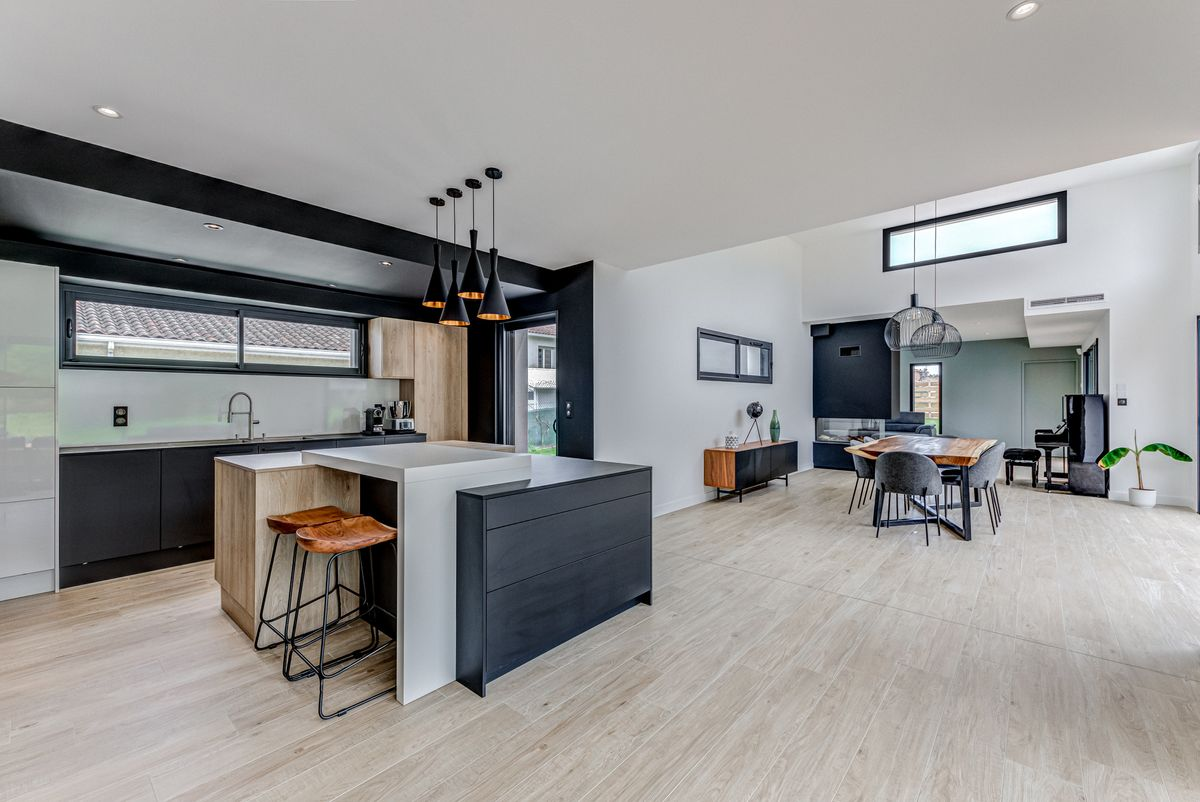 Maison individuelle toulouse - contemporaine - cuisine ouverte - salle à manger